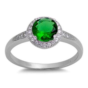 Sterling Silver Halo Green Emerald CZ Engagement Ring size 5-10