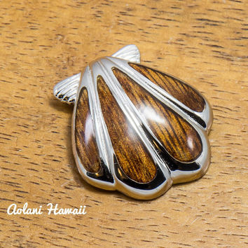 Hawaii Seashell Pendant Handmade with 925 Sterling Silver (22mm x 25mm FREE Stainless Chain Included)