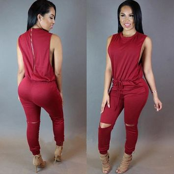 Women Jumpsuit Romper 7 Colors Irregular Casual Fashion O-Neck Sexy Rompers Womens Jumpsuit Elegant Jumpsuit Overalls RY0415