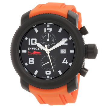 Invicta 1865 Men's Russian Diver Sea Hunter Black Dial Chronograph Orange Rubber Strap Watch