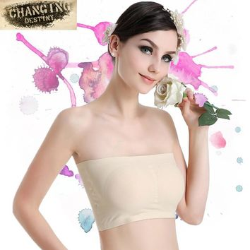 Women Tube Tops  Ice Silk Seamless A Chip Girl Wrapped Chest Ice Silk Breathable Female Strapless Underwear Yoga Beauty Back Bra