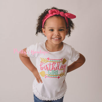 Birthday Girl shirt -- Girls Birthday shirt -- Turban Headband -- Birthday shirt -- Birthday outfit