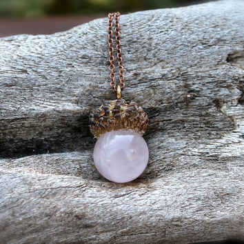 Rose Quartz Acorn Necklace - Fall Fashion - Autumn Jewelry - Crystal Necklace - Real Acorn Jewelry - Natural Stone Necklace - Boho Jewelry