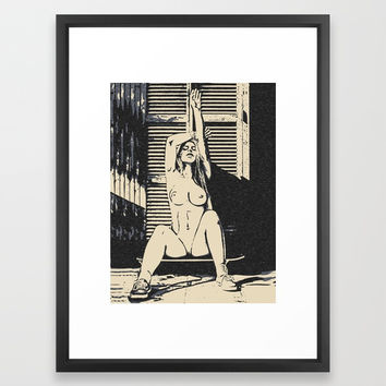 Sexy skater girl, erotic nude, naughty blonde posing naked, topless babe, street style nudity woman Framed Art Print by Casemiro Arts - Peter Reiss