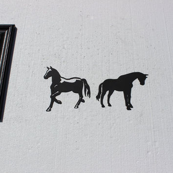 Horse Silhoutte Set of 2 Metal Wall Art Country Rustic Home Decor