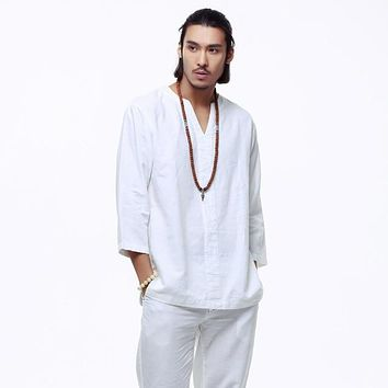 Men's Three-Quarter Sleeve Mandarin Linen Shirt