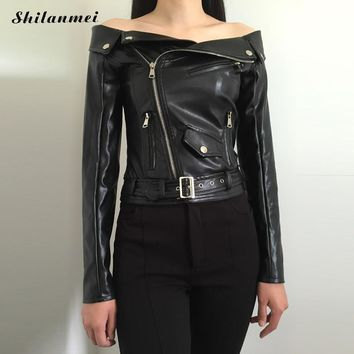 Women Imitation Leather Jacket off shoulder Slim Motorcycle Punk Coat Zippers Roupas De Couro lady Fashion Outwear