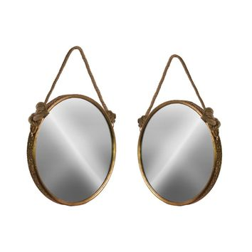 Antiqued Wall Mirror with Rope Handle Set of 2 - Gold - Benzara