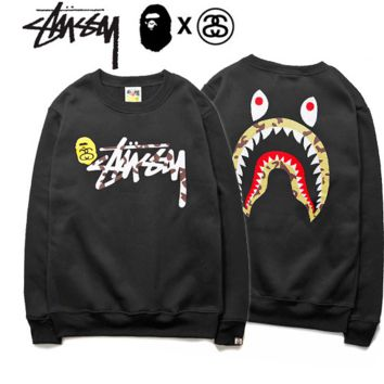 Trendy Stussy Shake Printed Sweatershirt Pullovers