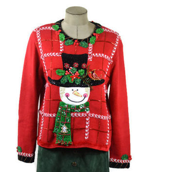 Vintage Ugly / Tacky Christmas Sweater by Berek/ Snowman with Top Hat/Large Unisex Sweater Party