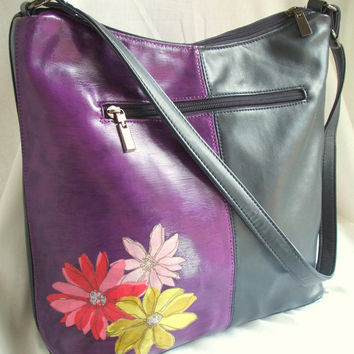 Upcycled Maria Galanti Leather handbag / tote bag. Embellished bag. Navy with purple and floral colour block design