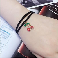 B238 2016 cheap Creative Lace Bracelet Double layer Cherry Bracelets & Bangles For Woman man Charms Jewelry accessroies
