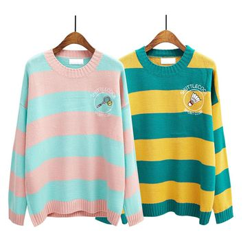 Harajuku women sweater 2018 korean new winter knitted sweaters cartoon embroidery candy-colored stripes loose pullover jumpers