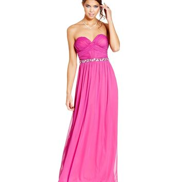 City Studios Juniors Dress, Strapless Ruched Embellished Gown - Juniors Homecoming Dresses - Macy's