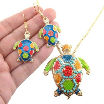 Colorful Sea Turtle Dangle Earrings and Beaded Necklace 2 Piece Set in Gold