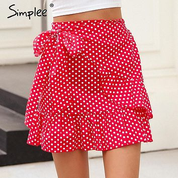 Simplee Polka dot wrap skirts womens Floral print summer style mini skirt Streetwear ruffle high waist short skirt female 2018
