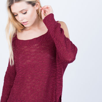 Chunky Knit Cold Shoulder Top