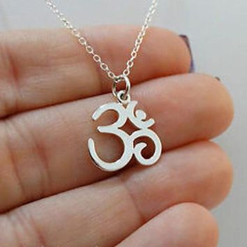 Platinum and Gold Yoga Om Pendant Necklace