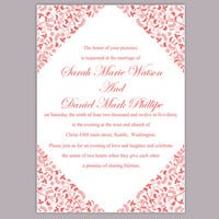 DIY Wedding Invitation Template Editable Word File Instant Download Printable Invitation Flower Invitation Red Invitation
