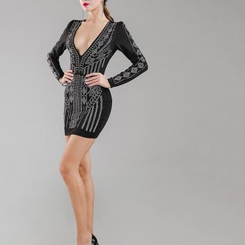 Elegant Deep v rhinestone studded bodycon dress