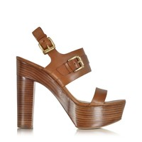 Michael Kors Beatrice Luggage Leather Platform Sandal