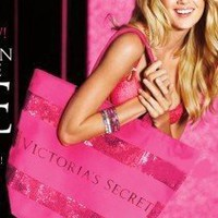 Victoria's Secret Large Beautiful PINK Sequin Sparkly Tote Bag NWT Inside pocket:Amazon:Everything Else