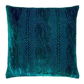 Malachite Cable Knit Velvet Pillows by Kevin O'Brien Studio