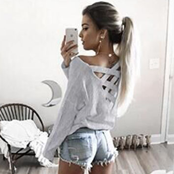 Spring Women Blouses Long Sleeve Shirt Women Sexy Back Hollow Cut Loose Ladies Tops Femme Casual Wom