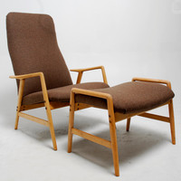 High Back Danish Modern Reclining Armchair & by RevolverSeattle