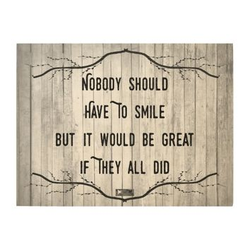 Smile Quote by Kat Worth Wood Wall Decor