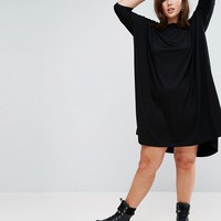 ASOS CURVE Oversize T-Shirt Dress with Curved Hem at asos.com