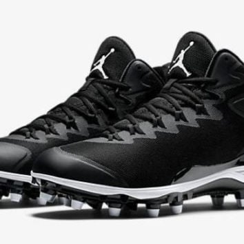 Jordan Men's Super.Fly 3 TD Black/White Football Cleats 719548 010 size 12