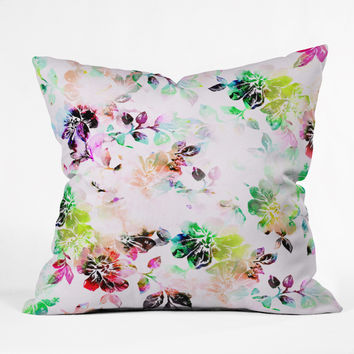 CayenaBlanca Romantic Flowers Outdoor Throw Pillow