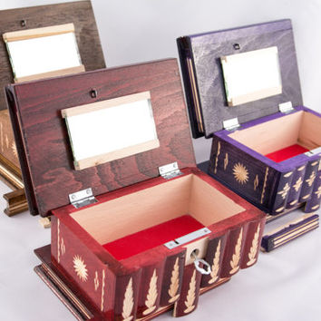 3x Treasure Chest Coin/Piggy/Trinket/Lock/Bank BOX - Special offer Wooden Puzzle Case
