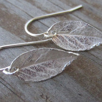 Silver Leaf Earrings, Leaf Dangle Earrings, Rose Leaf Earrings