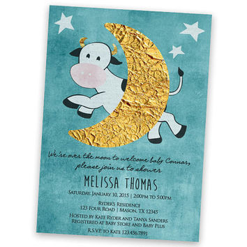 Nursery Rhyme Baby Shower Invitation - Cow Jumped Over The Moon - Boy Baby Shower - Moon Stars - Vintage - over the moon Baby Shower Invite