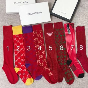 GUCCI / Louis Vuitton / Prada Red Series Socks