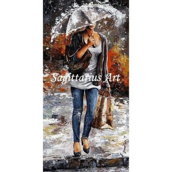 Hand Painted Abstract high quality Office worker woman Canvas Oil Painting For Living Room Home Wall Decoration Artwork Fine Art