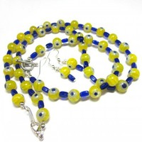 Yellow blue glass bead necklace bracelet earring set millefiori flower