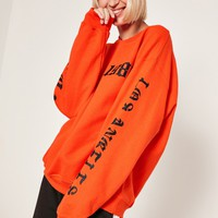 Missguided - Orange 1986 LA Sweatshirt