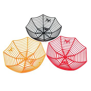Home Garden Tool Supplies Spider Web Fruits Candy Plastic Storage Basket Spiderweb Halloween Party Decor Kitchen 2018 New