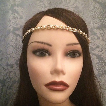 1920's Style Gold Pearl Elastic Goddess Headchain Grecian 1920s head chain headpiece piece 20's headband band metal adjustable stretch