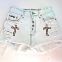 White/Destroyed & Studded/Cross Embroidered/ High by RomaniRose