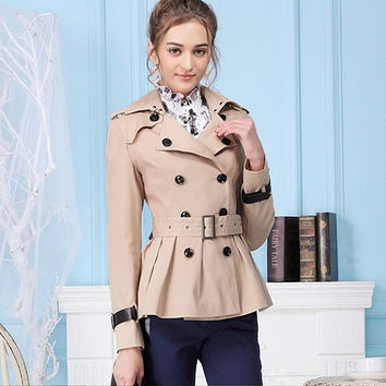 Khaki Long-Sleeve Peacoat With Belt
