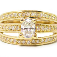 Engagement Ring - Oval Diamond Engagement Ring 3 Row Split Band diamond accents 0.50 tcw. In 14K Yellow Gold - ES517OVYG
