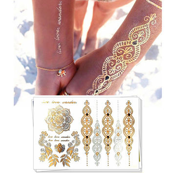 M-Theory  Metallic Gold Choker Temporary Tattoo Body Art Arm Flash Tattoo Stickers, 21*15cm Waterproof Lace Tattoos