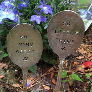Hand Stamped Spoons, Garden Spoons, Stamped Spoons, Herb Garden Markers, Christmas Gift, Hostess Gift, Gift for the Gardener, Garden Decor