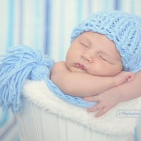Newborn Photo Prop - Blue Tassel hat / Baby boy Photo props / Newborn Boy / baby blue
