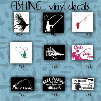 FISHING vinyl decals - 64-72 - vinyl sticker - fish - fisherman - decal - stickers - custom decal - car sticker - vinyl decal - car decal