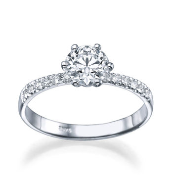 1.30 carat E/SI1 Diamond Snowflake Engagement Ring in Platinum
